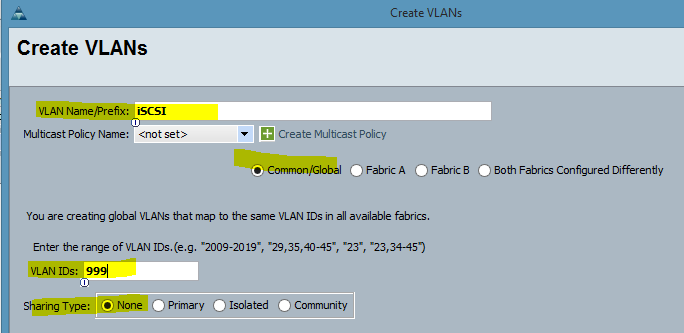 VLAN Creation Config