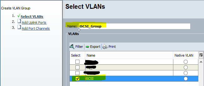 Add the created VLAN to the group.