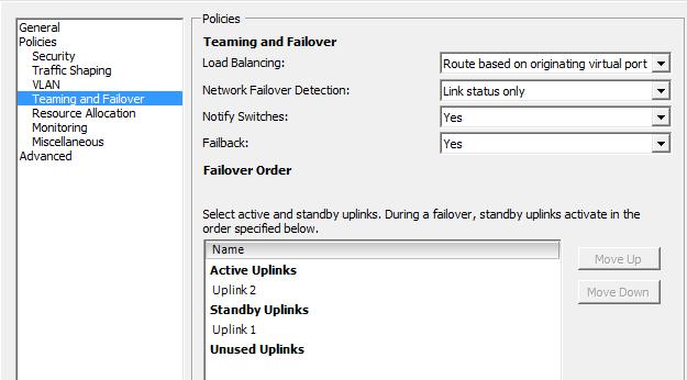 Changing uplink status forces traffic through one FI.
